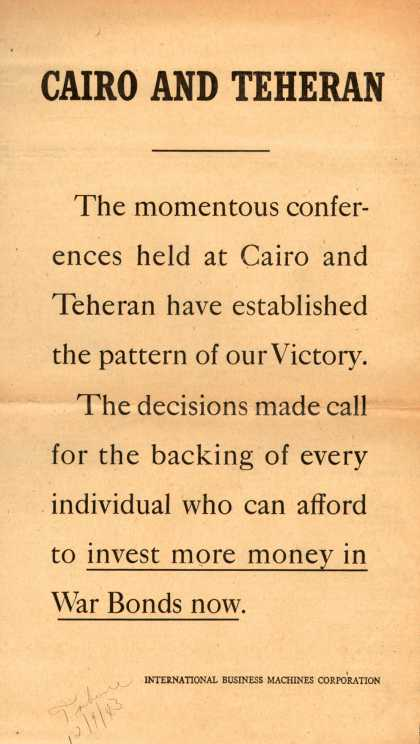 International Business Machines Corp.&#8217;s War Bonds &#8211; Cairo And Teheran (1943)