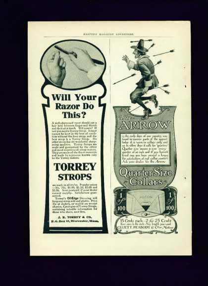 Torrey Strops & Oil Edge Dressing Ad C 1/2 Page (1910)