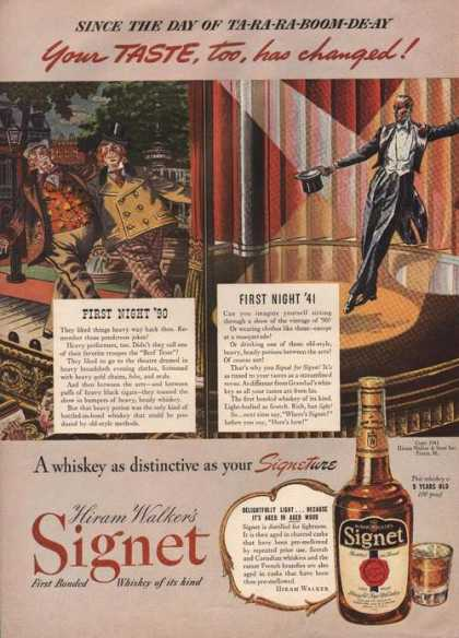 Hiram Walkers Signet Whiskey (1941)