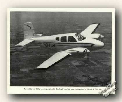 Beechcraft Travel Air In Flight Print Photo (1957)