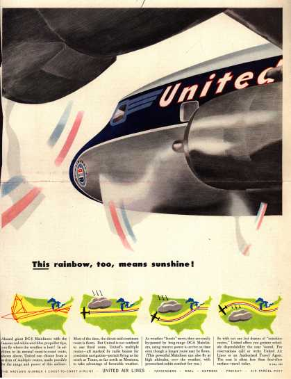 United Air Line's DC-6 Mainliners – This rainbow, too, means sunshine (1952)