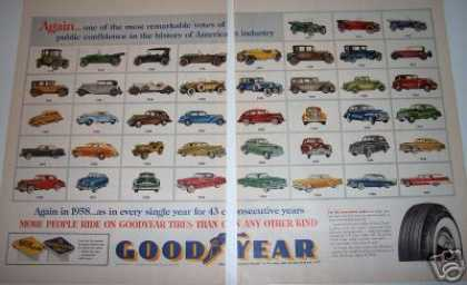 Goodyear Car Photo Ad 1918-1957 2 Large Pages (1958)