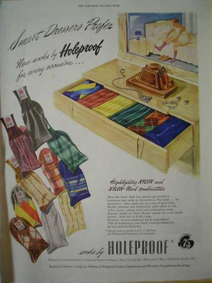 Smart dressers prefer Socks by Holeproof (1947)
