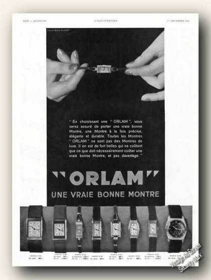 Orlam Wrist Watch Photos Antique French (1934)