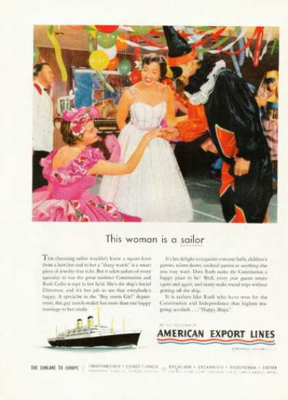 American Export Line Cruise Ship Ad Costume Party (1955)