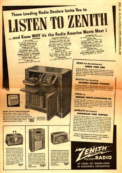 Zenith Radio Corporation's Various – The Leading Radio Dealers Invite You to Listen to Zenith ...and Know WHY it's the Radio America Wants Most (1947)