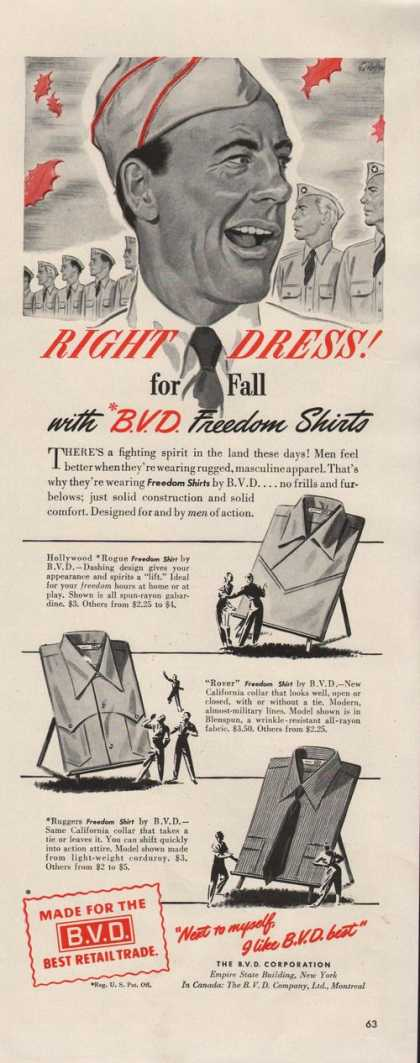 B V D Freedom Mens Shirts (1942)