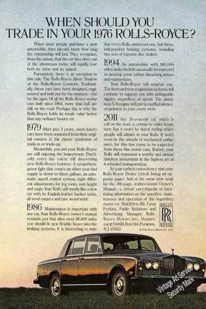 "Rolls-royce ""When Should You Trade In"" Photo (1976)"