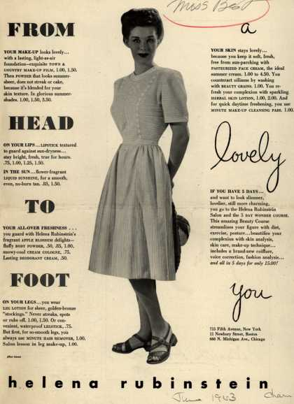 Helena Rubinstein's Various – From Head To Foot a lovely you (1943)