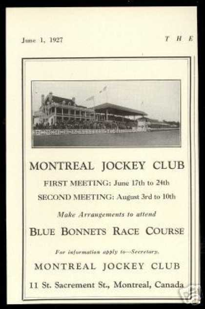 Montreal Jockey Club Horse Racetrack Photo (1927)