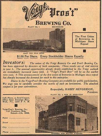 Voigt Pros't Brewing Co's Voigt Brewing Co (1936)