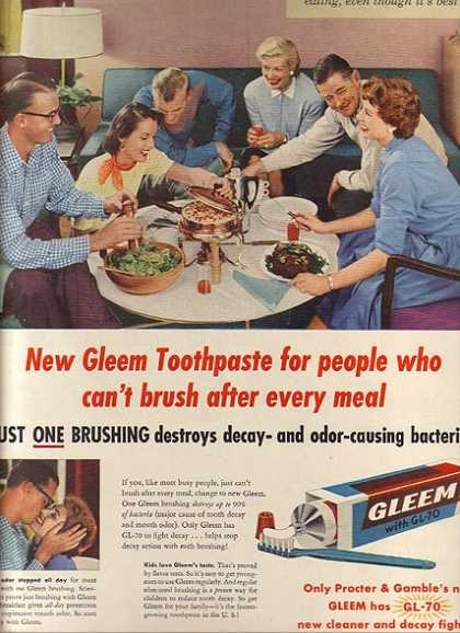 Gleem's Toothpaste with GL-70 (1956)
