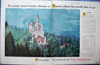 Pan American Airline Neuschwanstein Castle Germany (1955)