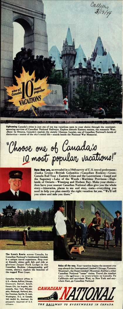 "Canadian National Railway's various – ""Choose one of Canada's 10 most popular vacations!"" (1949)"
