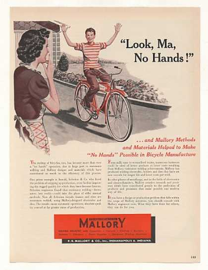 Boy Riding Schwinn Bicycle No Hands Mallory (1949)