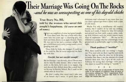 Lever Brothers Company's Lifebuoy Health Soap – Their Marriage Was Going On The Rocks (1935)