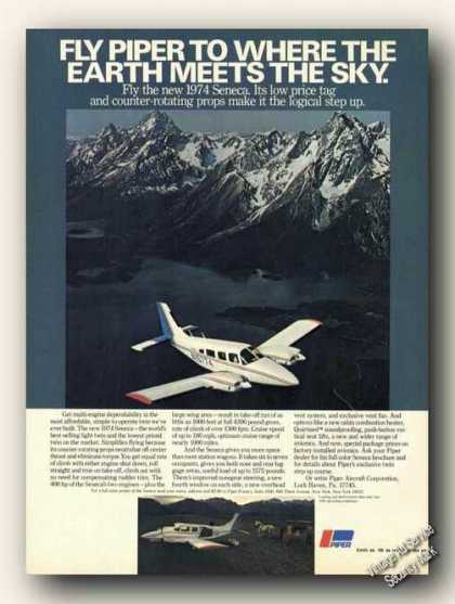 Piper Seneca Photo Beautiful Mountains Airplane (1974)