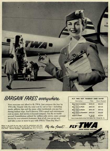 Trans World Airline's Sky Tourist Fares – Bargain Fares everywhere (1954)