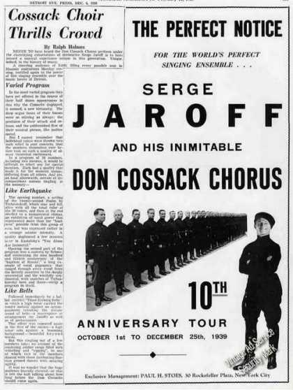 Serge Jaroff & Don Cossack Chorus Photo Trade (1939)