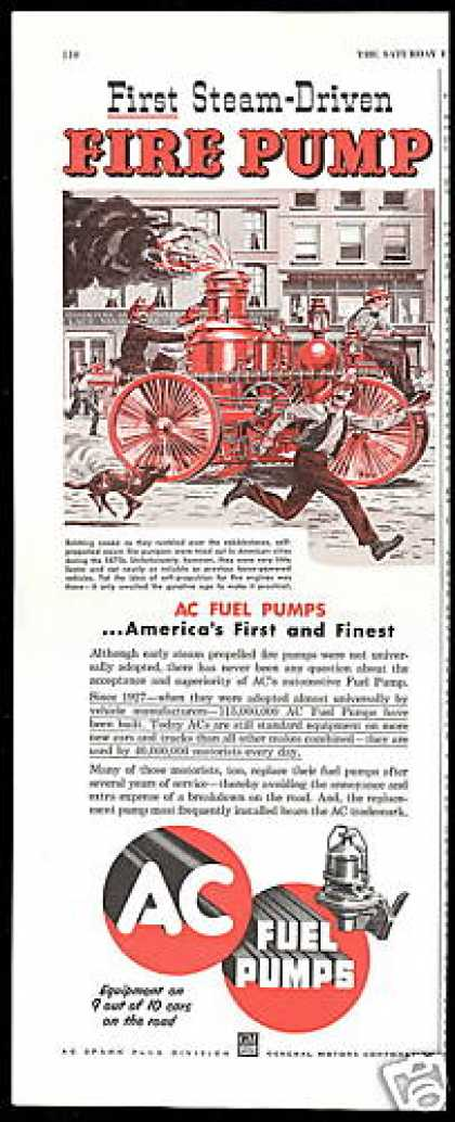 AC Fuel Pump 1870's Steam Fire Pumper Firemen (1953)