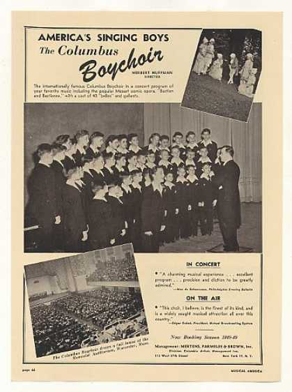 Columbus Boychoir Boy Choir Photo Booking (1948)