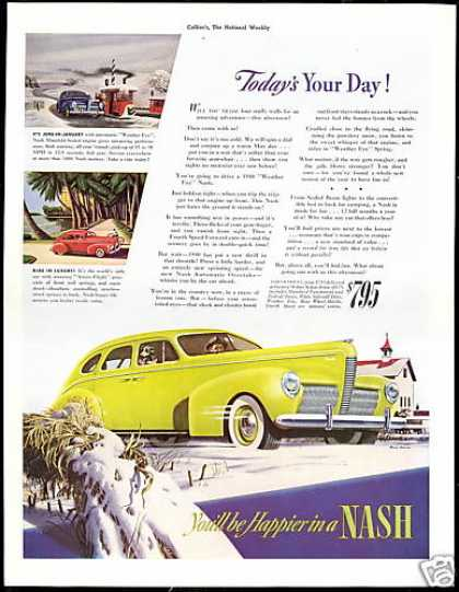 Nash Yellow Car Vintgage Print Art (1940)