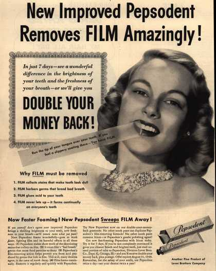 Lever Brothers Company's tooth paste – New Improved Pepsodent Removes Film Amazingly (1949)