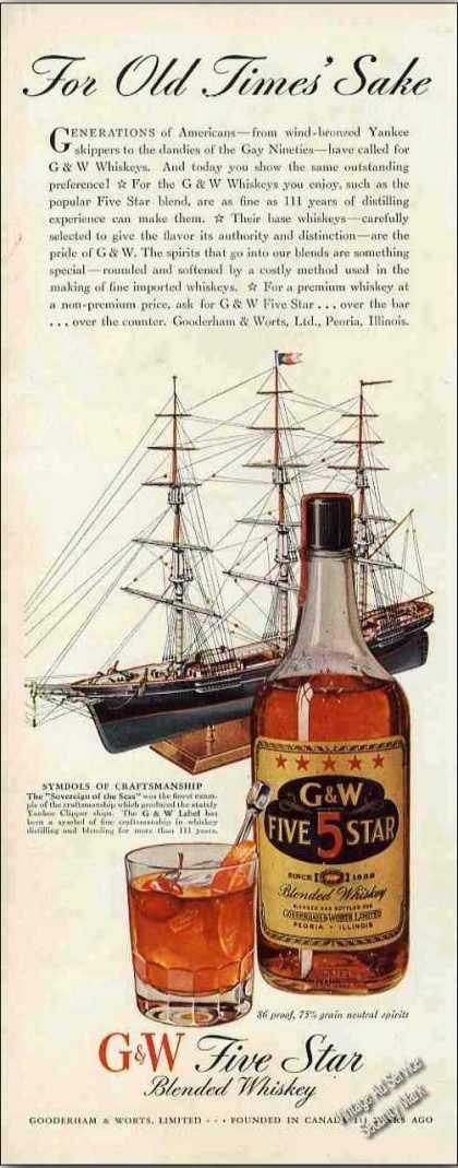 "G&w Five Star Whiskey ""For Old Times Sake"" (1943)"
