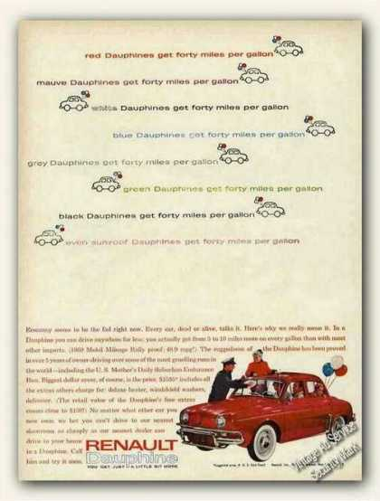 "Red Renault Dauphine ""Forty Miles Per Gallon"" (1961)"