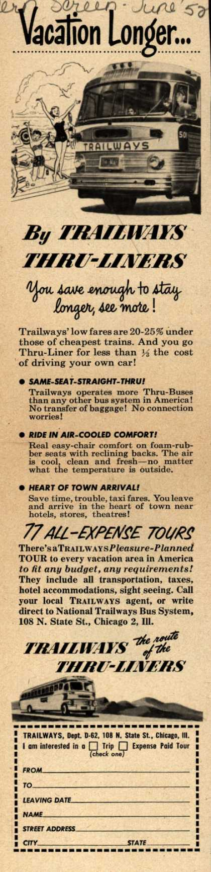National Trailways Bus System's Thru-Liners – Vacation Longer... (1952)