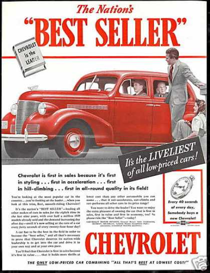 Red Chevrolet Car Photo Best Seller Vintage (1939)