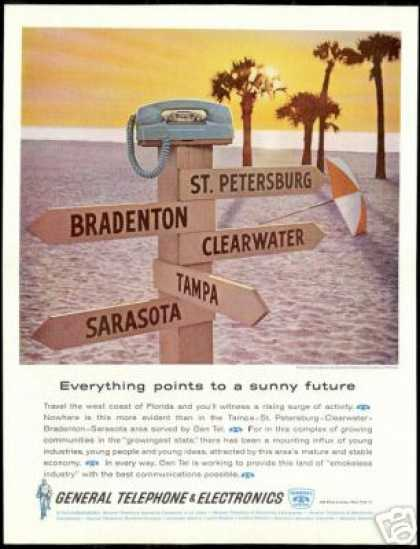 Florida City Signs General Telephone Phone (1962)