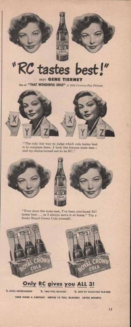 Royal Crown Cola Gene Tierney (1949)