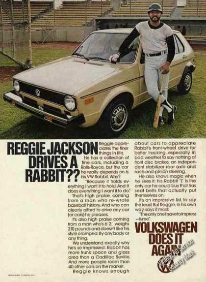 Vw Volkswagen Rabbit Reggie Jackson Photo (1978)