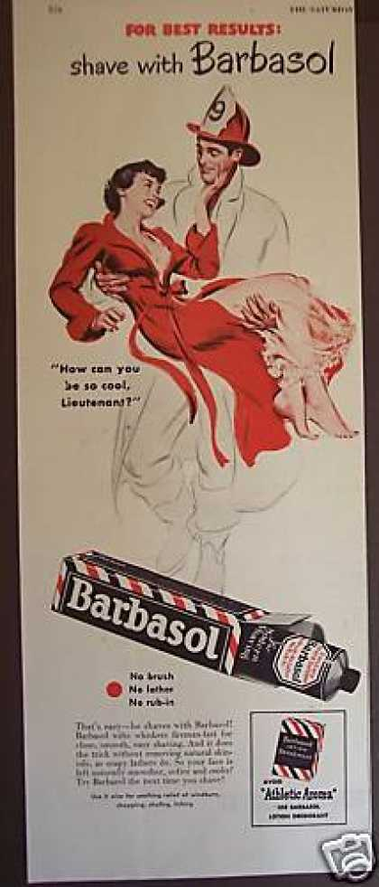 Fireman Carries Woman Art Barbasol Shave (1949)