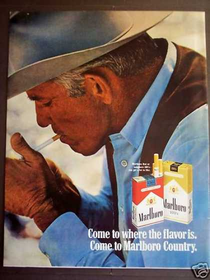 Cowboy Lighting Up His Marlboro Cigarette (1970)