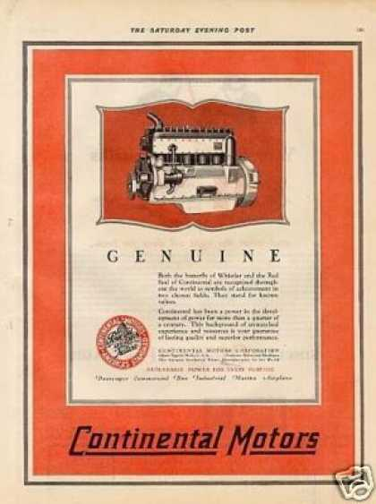 Continental Motors Color Ad 2 Page (1927)