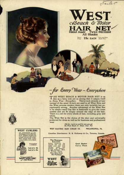 West Electric Hair Curler Company's West Beach & Motor Hair Net – West Beach & Motor Hair Net. – For Every Wear – Everywhere (1921)