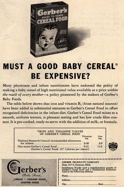 Gerber Products Company's Gerber Cereal Food – Must a Good Baby Cereal Be Expensive? (1945)
