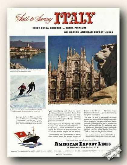 Milan Italy Gothic Cathedral American Export Promo (1949)