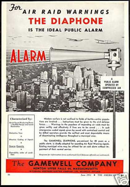 Air Raid Warning Siren Alarm Gamewell Co (1951)
