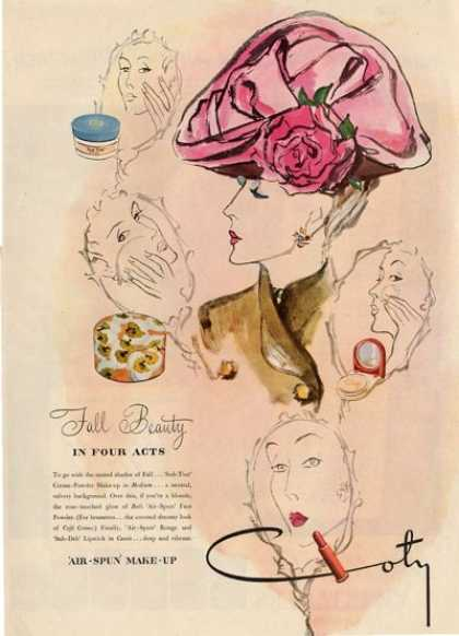 Coty Bali Face Powder Womens Fashion Hat Ad T (1945)