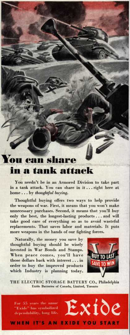 Electric Storage Battery Co. (Exide Batteries)'s War Bonds – You can share in a tank attack (1943)