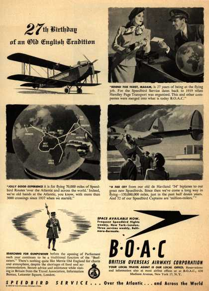 British Overseas Airways Corporation – 27th Birthday of an Old English Tradition (1946)