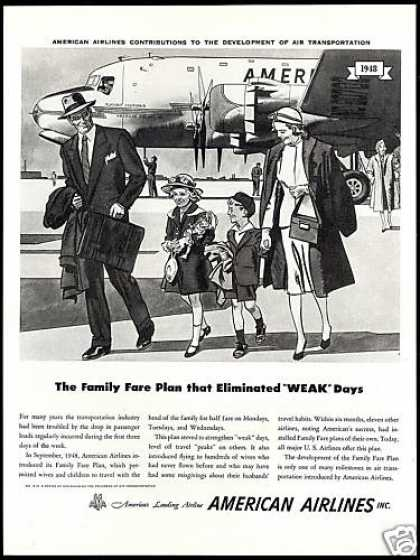 American Airlines Family Fare Plan Art (1953)