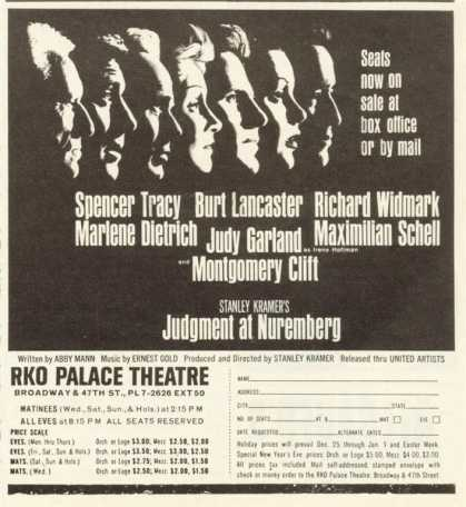 Rko Palace Theatre Ad Judgment at Nuremberg Tracy (1961)