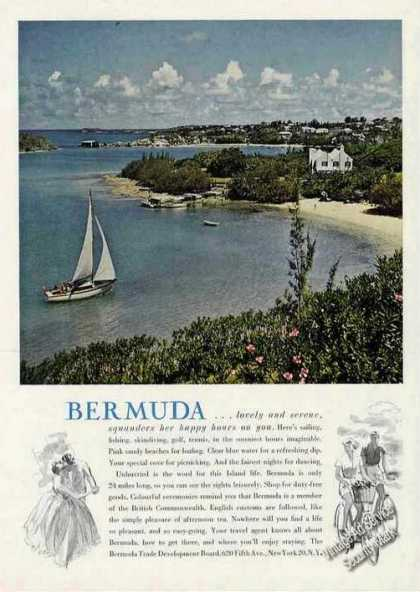 Bermuda Beautiful Harbor/sailboat Travel (1960)