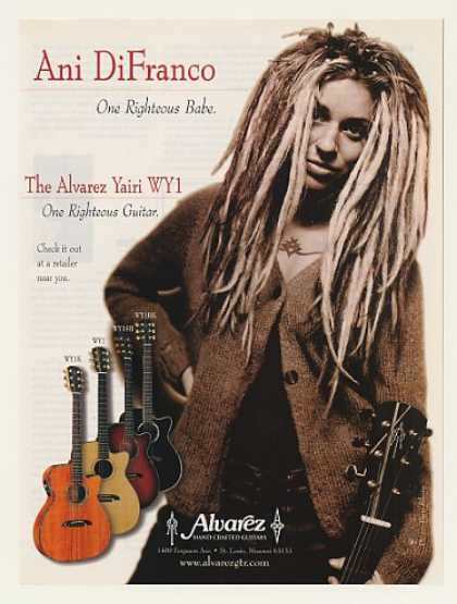 Ani DiFranco Alvarez Yairi WY1 Guitar Photo (1999)