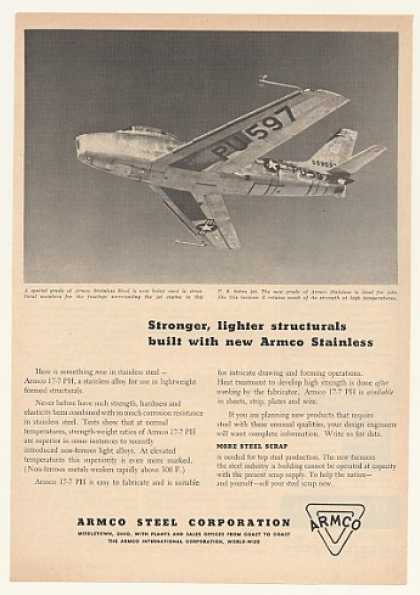 US Sabre Jet Aircraft Armco Stainless Steel (1952)