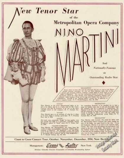 Nino Martini Photo Tenor Advertising (1934)